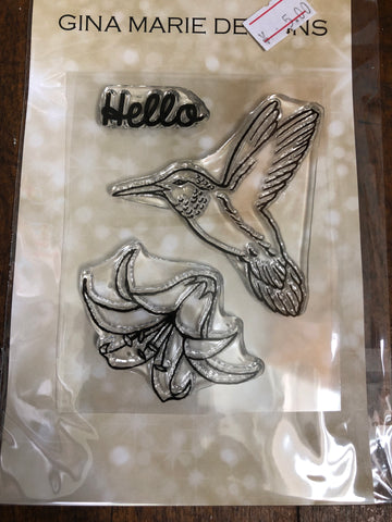 HUMMINGBIRD AND TRUMPET FLOWER STAMPS - Gina Marie Designs