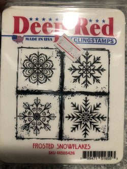 FROSTED SNOWFLAKES - DEEP RED RUBBER STAMPS