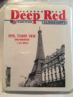 EIFFEL TOWER VIEW - DEEP RED RUBBER STAMPS