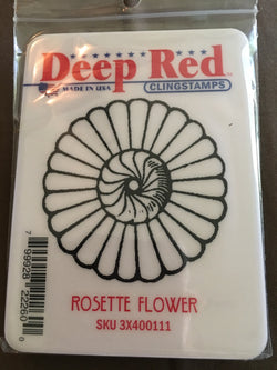 ROSETTE FLOWER DEEP RED RUBBER STAMPS
