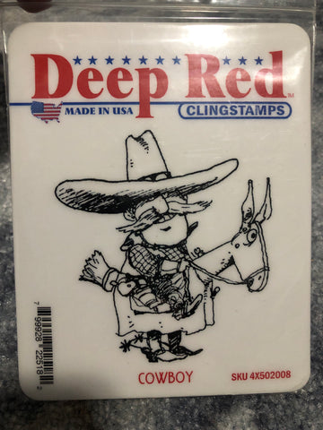 COWBOY - DEEP RED RUBBER STAMPS