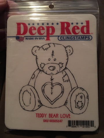 TEDDY BEAR LOVE DEEP RED RUBBER STAMPS