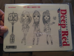 CITY GIRLS WINTER DEEP RED RUBBER STAMPS