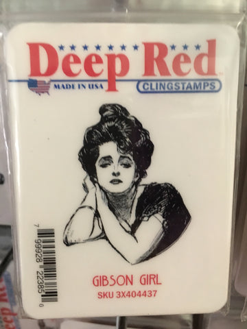 GIBSON GIRL - DEEP RED RUBBER STAMPS