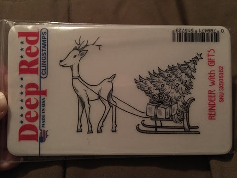 REINDEER WITH GIFTS DEEP RED RUBBER STAMPS