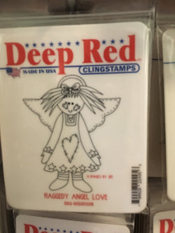RAGGEDY ANGEL LOVE DEEP RED RUBBER STAMPS