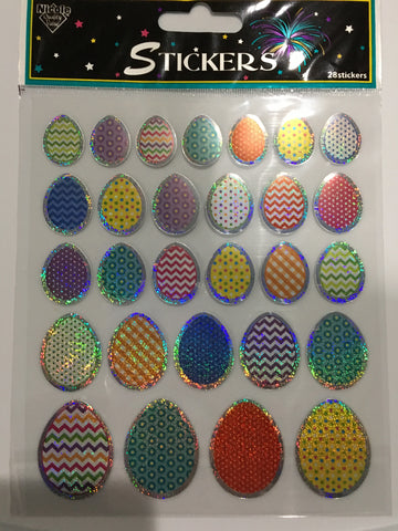 NICOLE METALLIC COLORFUL EASTER EGG STICKERS XL SHEET