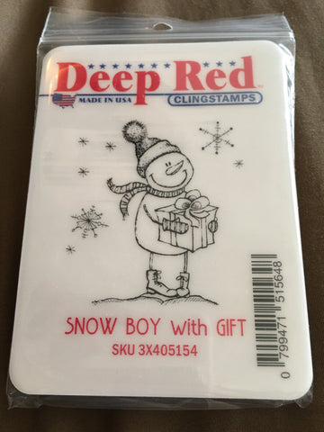 SNOW BOY WITH GIFT - DEEP RED RUBBER STAMPS
