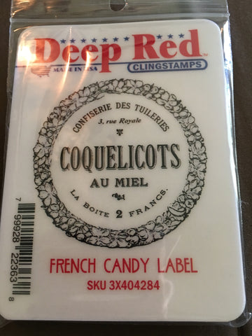 FRENCH CANDY LABEL DEEP RED RUBBER STAMPS