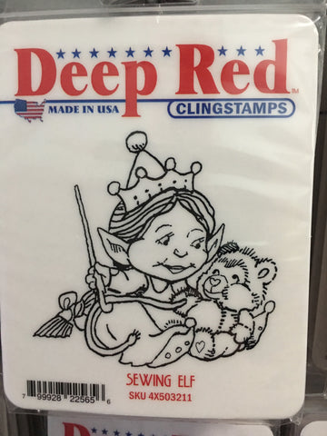 SEWING ELF DEEP RED RUBBER STAMPS