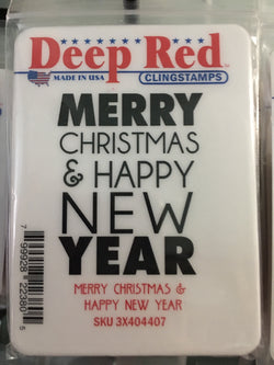 MERRY CHRISTMAS AND HAPPY NEW YEAR - DEEP RED RUBBER STAMPS