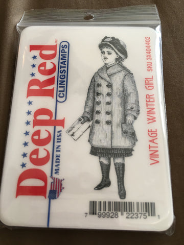 VINTAGE WINTER GIRL - DEEP RED RUBBER STAMPS