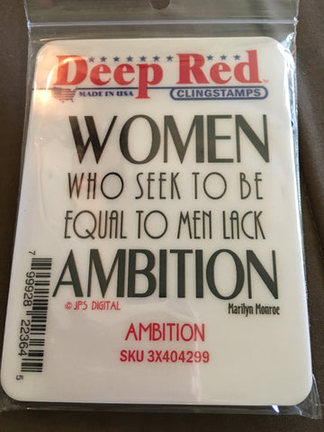 AMBITION DEEP RED RUBBER STAMPS