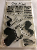 LAYERED DOG TAGS MILITARY STAMP SET - Gina Marie Designs