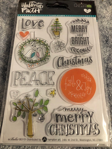 MERRY AND BRIGHT - ILLUSTRATED FAITH HAMPTON ARTS CLEAR STAMPS