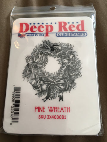 PINE WREATH - DEEP RED RUBBER STAMPS