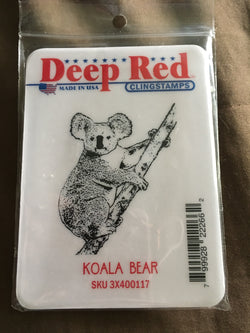 KOALA BEAR DEEP RED RUBBER STAMPS