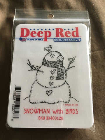 SNOWMAN WITH BIRDS DEEP RED RUBBER STAMPS