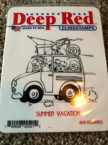 SUMMER VACATION - DEEP RED RUBBER STAMPS