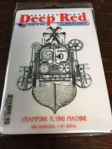 STEAMPUNK FLYING MACHINE DEEP RED RUBBER STAMPS