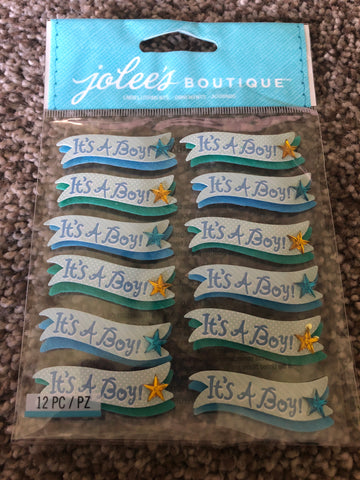 ITS A BOY BANNER REPEATS - Jolee's Boutique Stickers