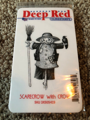 SCARECROW WITH CROW - DEEP RED RUBBER STAMPS
