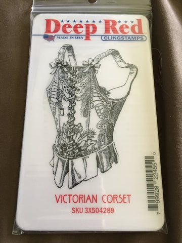 VICTORIAN CORSET DEEP RED RUBBER STAMPS