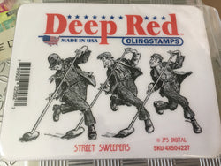 STREET SWEEPERS - DEEP RED RUBBER STAMPS
