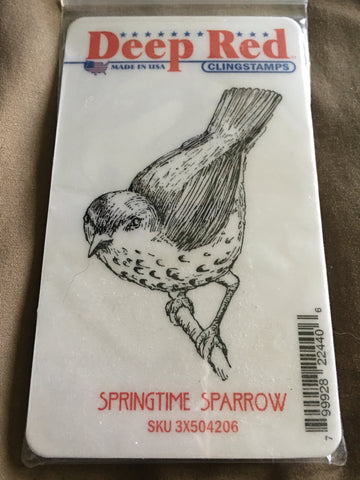 SPRINGTIME SPARROW DEEP RED RUBBER STAMPS