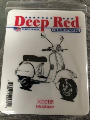 SCOOTER DEEP RED RUBBER STAMPS