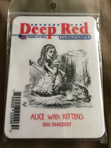 ALICE WITH KITTENS DEEP RED RUBBER STAMPS
