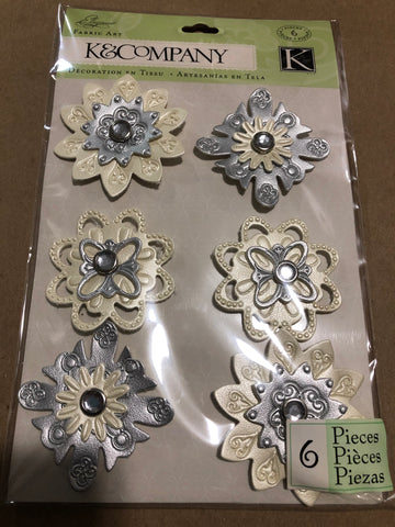 ELEGANCE LEATHER FLOWER STICKERS - K & COMPANY