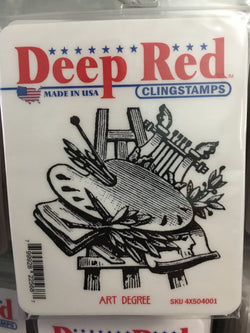 ART DEGREE DEEP RED RUBBER STAMPS