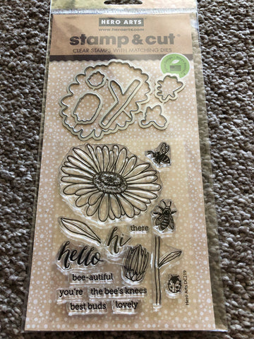 DAISY HELLO HI - STAMP N CUT HERO ARTS DIE AND STAMP SET