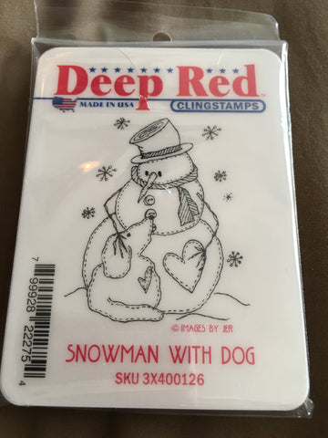SNOWMAN WITH DOG - DEEP RED RUBBER STAMPS