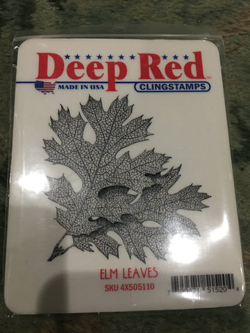 ELM LEAVES - DEEP RED RUBBER STAMPS