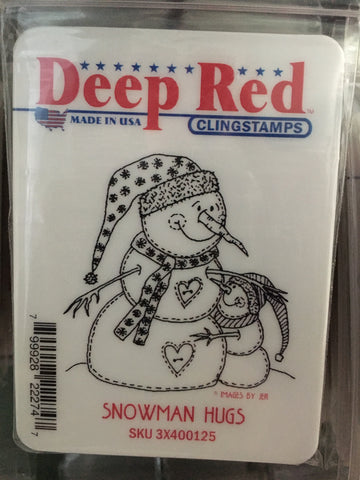 SNOWMAN HUGS - DEEP RED RUBBER STAMPS