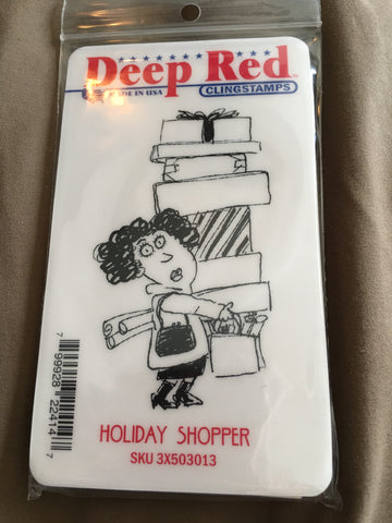 HOLIDAY SHOPPER - DEEP RED RUBBER STAMPS