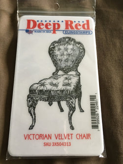 VICTORIAN VELCET CHAIR DEEP RED RUBBER STAMPS