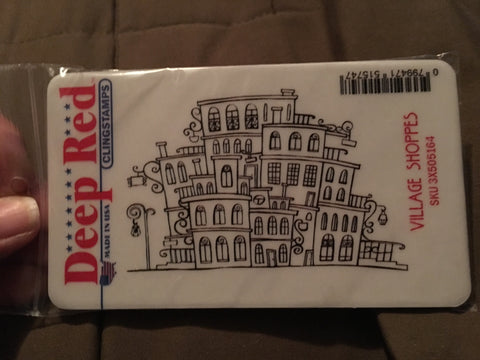 VILLAGE SHOPPES DEEP RED RUBBER STAMPS