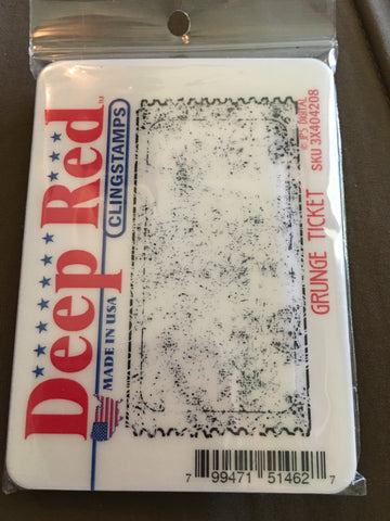 GRUNGE TICKET DEEP RED RUBBER STAMPS