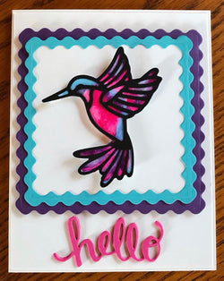 STAINED GLASS STYLE HUMMINGBIRD DIE - Gina Marie Designs