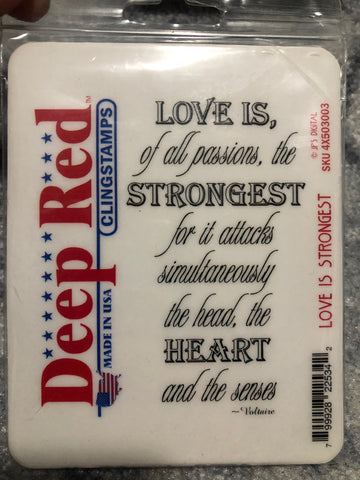 LOVE IS STRONGEST - DEEP RED RUBBER STAMPS