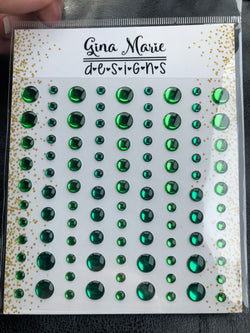 GREEN FOIL MIRRORED METALLIC Enamel Dot Embellishments