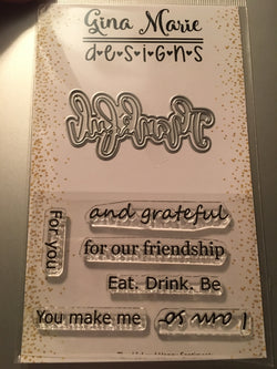 THANKFUL DIE WITH SHADOW LAYER & COORDINATING STAMPS - Gina Marie Designs