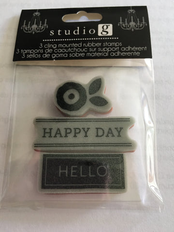 HAPPY DAY HELLO - STUDIO G CLING STAMPS