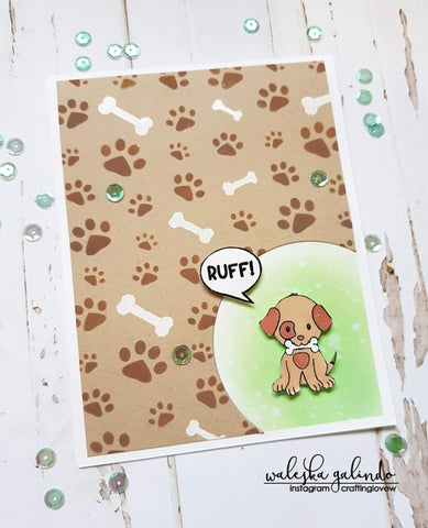 DOG PAWS AND BONES BACKGROUND STENCIL - Gina Marie Designs