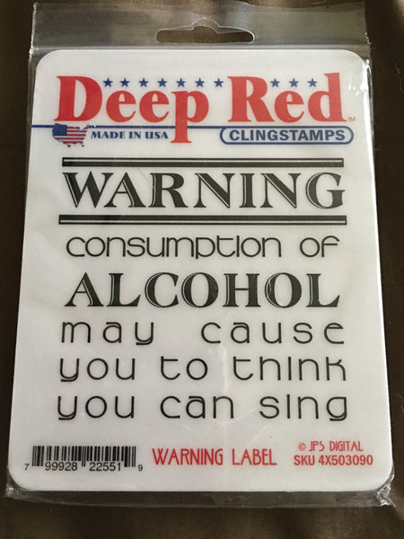 WARNING LABEL DEEP RED RUBBER STAMPS