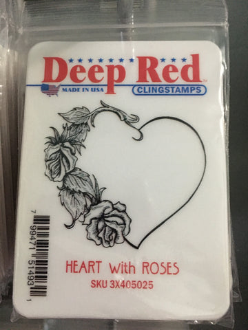 HEART WITH ROSES - DEEP RED RUBBER STAMPS