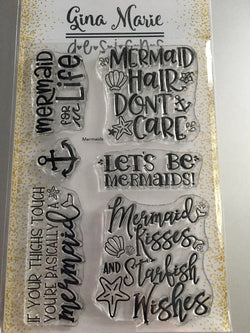 MERMAID WORDS STAMP SET - Gina Marie Designs